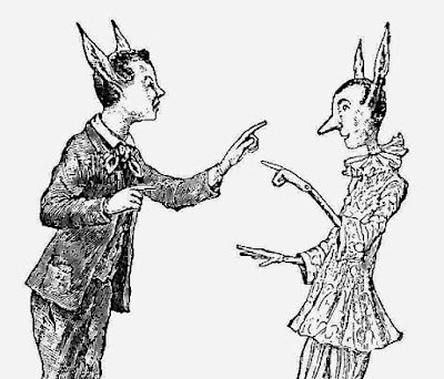 Long eared people from the original Italian Pinnocchio story: Pinocchio and Candlewick turn into donkeys.