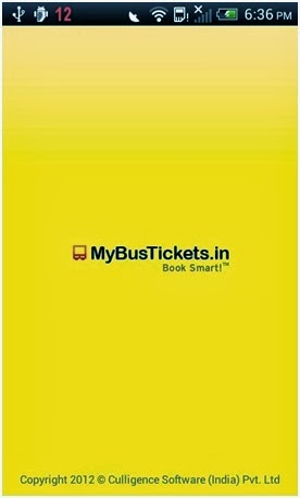 mybustickets.in app screenshot of home page
