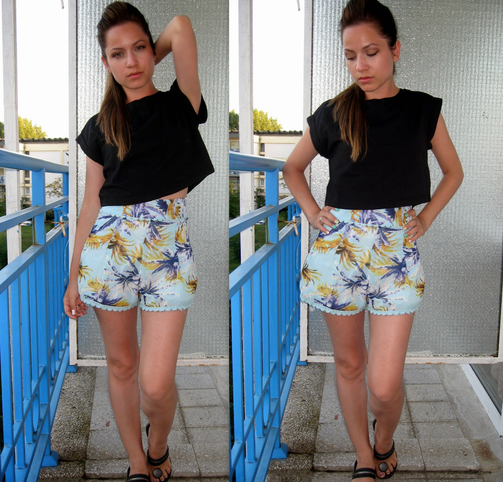 terranova black crop top, choies tropical print high waist shorts,