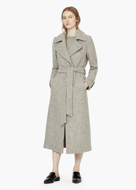 beige long wool coat, mango belted coat, mango long wool coat,