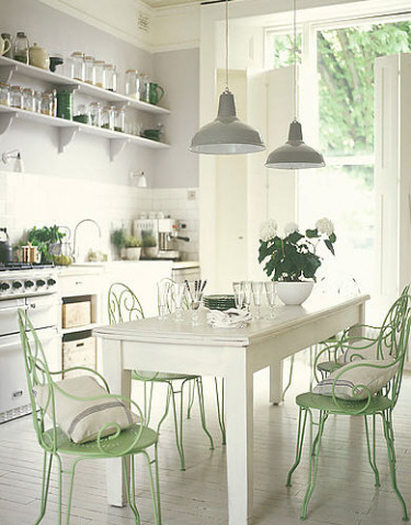 Cheap home decors shabby chic and vintage kitchens for White kitchen dining chairs