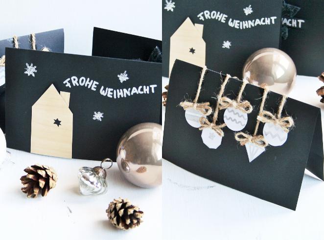 Weihnachtskarten aus schon vorhanden Dingen zu Hause
