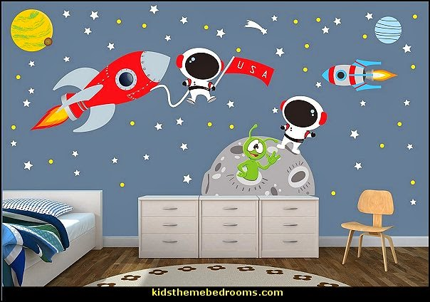 Rocket, Moon, Planets, Astronauts, Stars Wall Decals Part 35