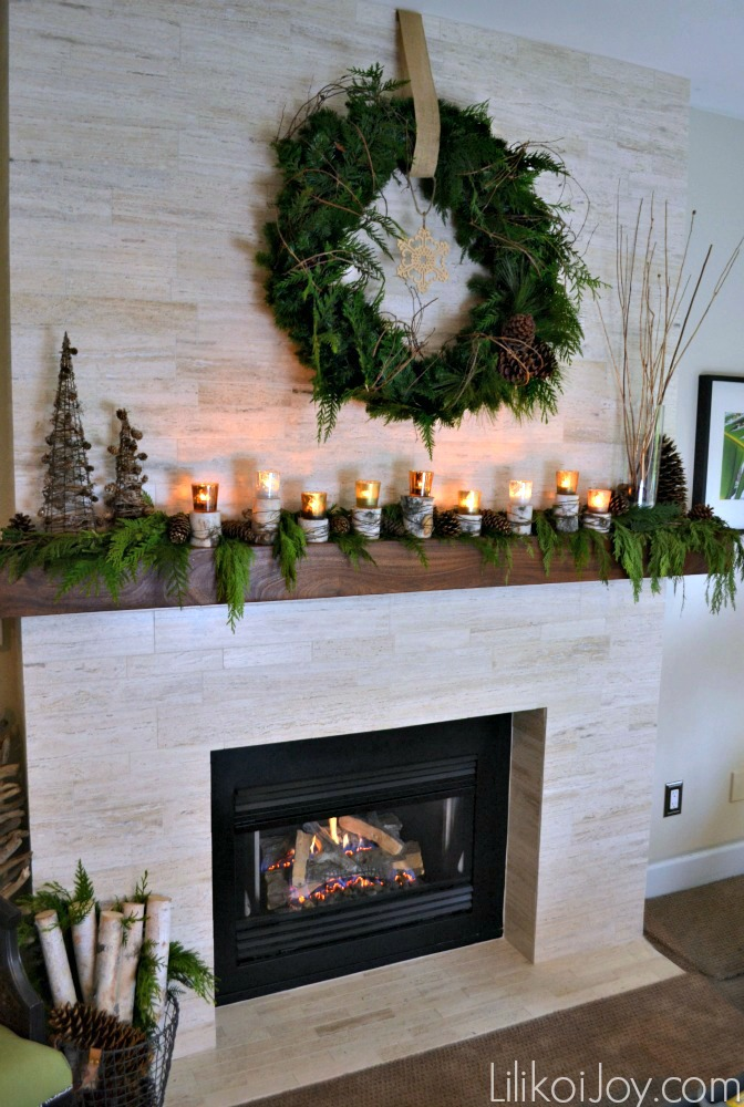Nature Inspired Christmas Fireplace Mantel