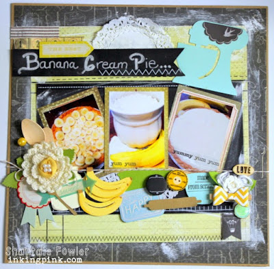 SRM Stickers Blog - Chalkboard & Stitches Layout by Shantaie - #layout #stickers #chalkmarkers #doilies #yummy