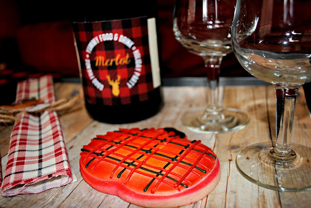 Plaid trend, wine party, fall party, custom cookies
