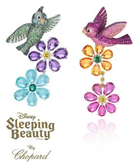 chopard multi-coloured bird earrings from sleeping beauty