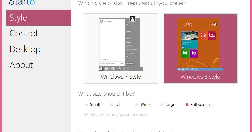 Start8 Software Untuk Menambahkan Tombol Start Di Windows