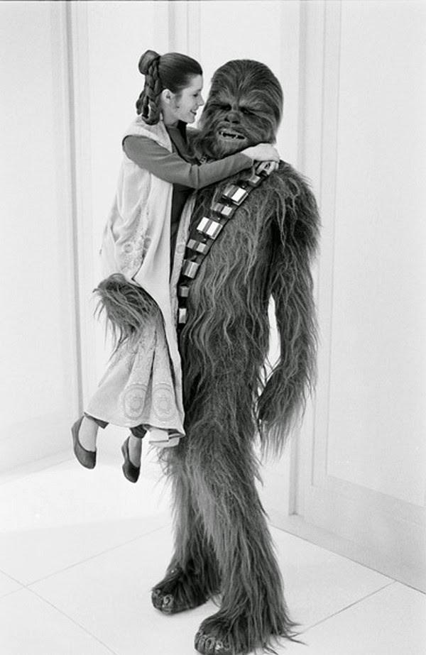 Princesa Leia y Chewaca amigos en la guerra de las galaxias