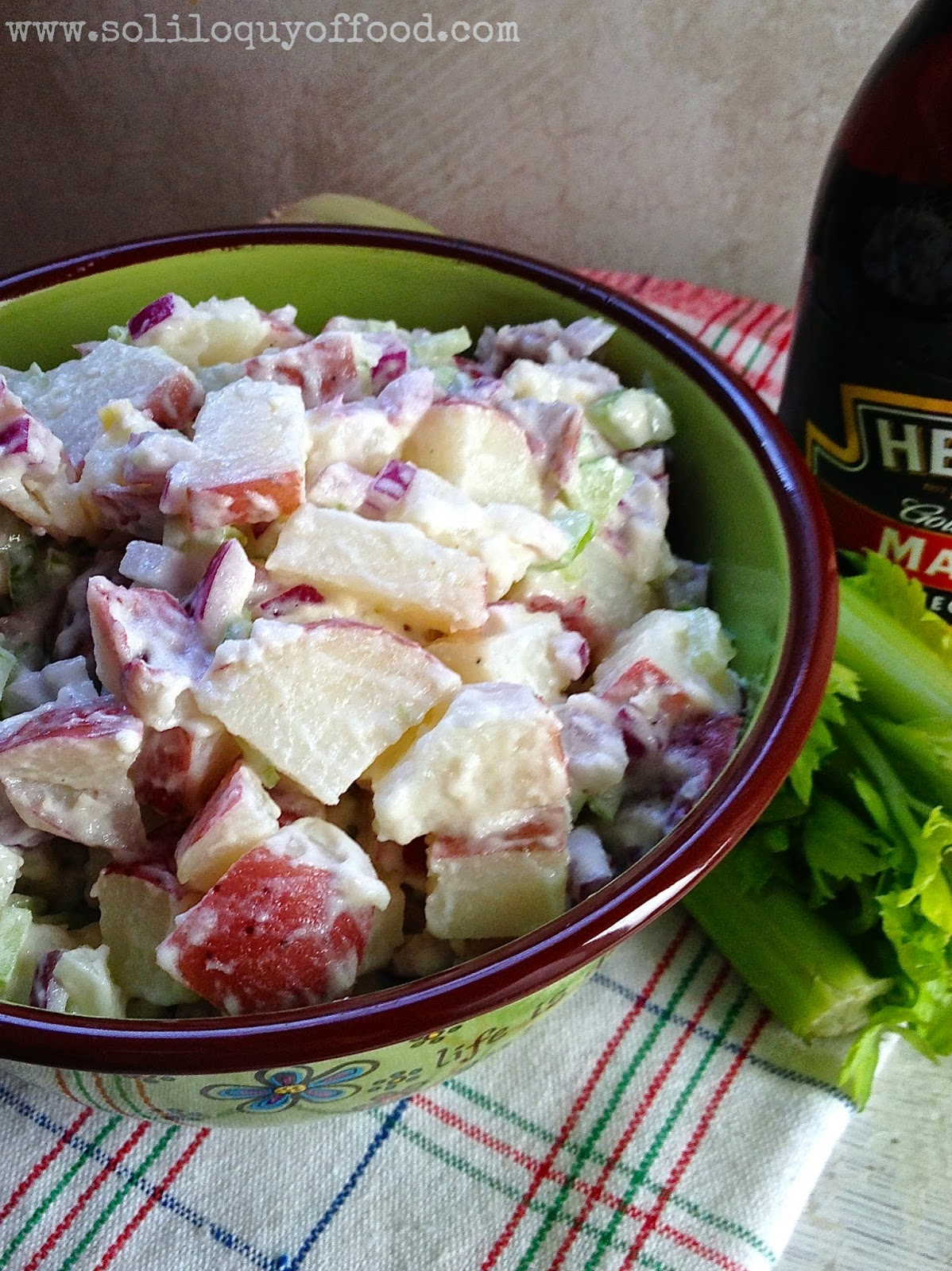 It's not just a summer side in our house.  It's timeless!  Mamma D-9's Potato Salad - www.soliloquyoffod.com #RedPotatoSalad #EggFree
