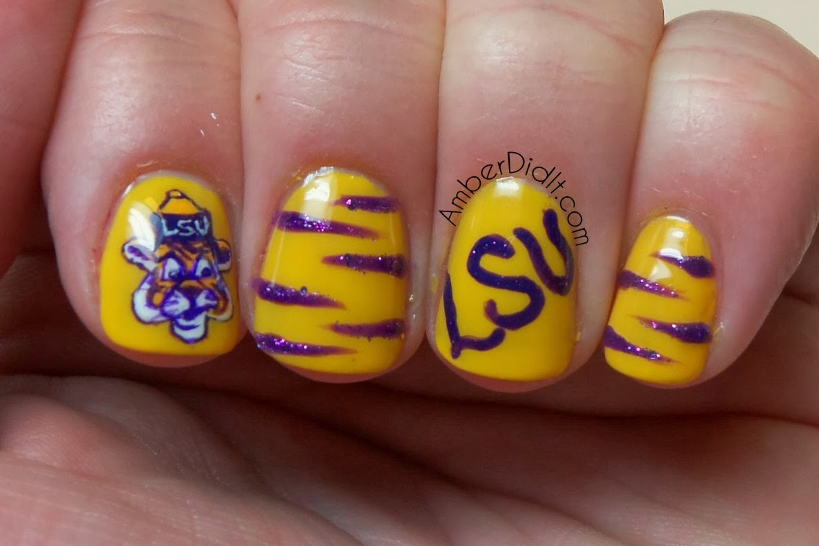 Amber did it!: Geaux Tigers! LSU Nail Art
