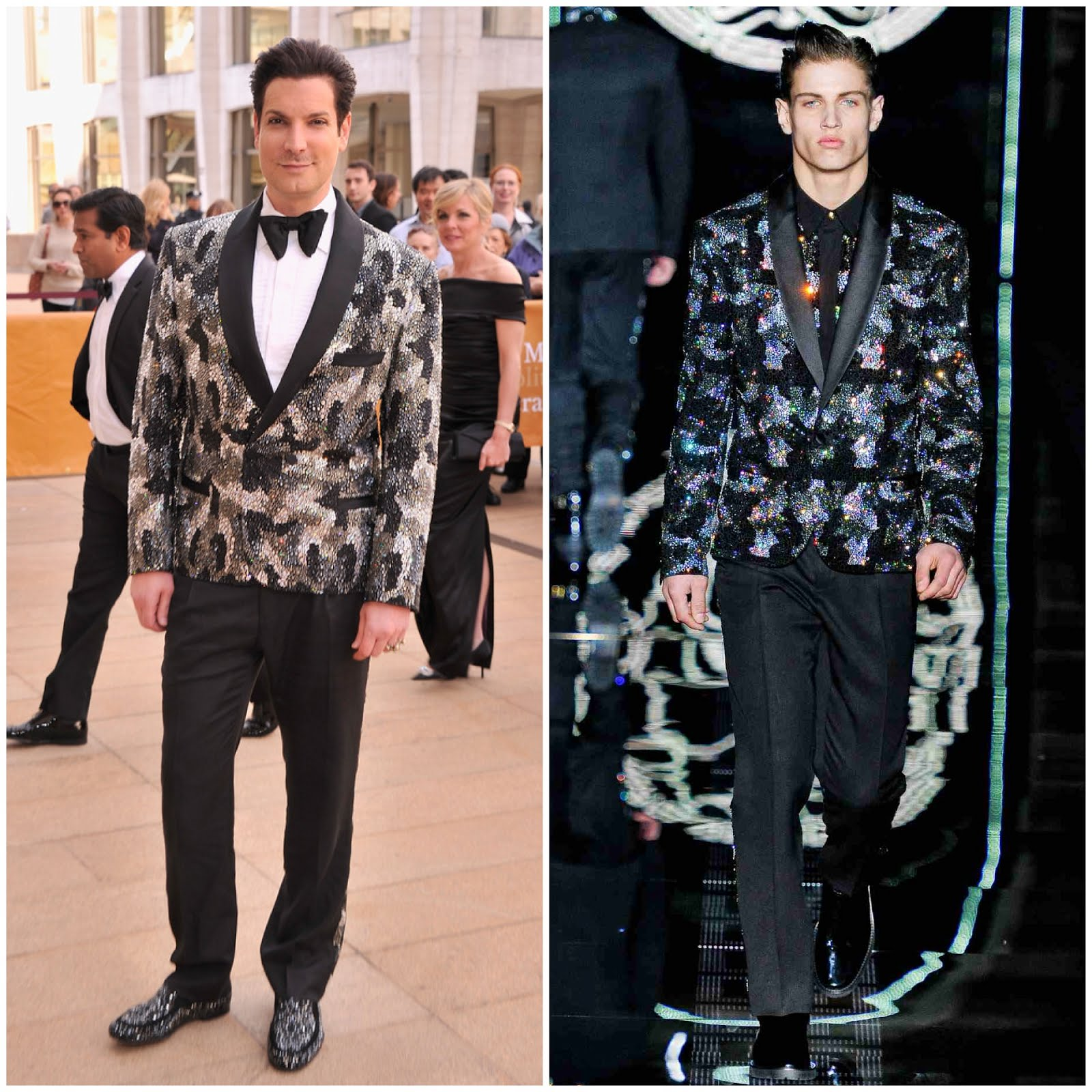 00O00 Menswear Blog: Cameron Silver in Versace menswear Fall Winter 2012 embellished tuxedo jacket - American Ballet Theatre opening night Spring Gala at Lincoln Center May 2013