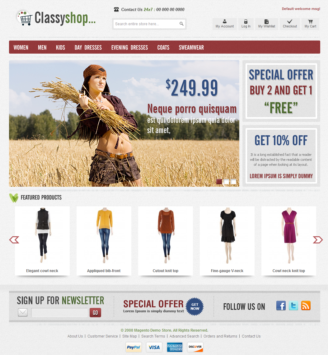eCommerce - ClassiShop Magento Template for Clothes Stores ...