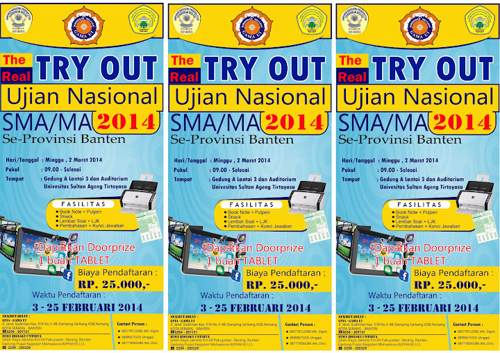 FLAYER  Try Out Ujian Nasional SMA MA 2014 Yellow