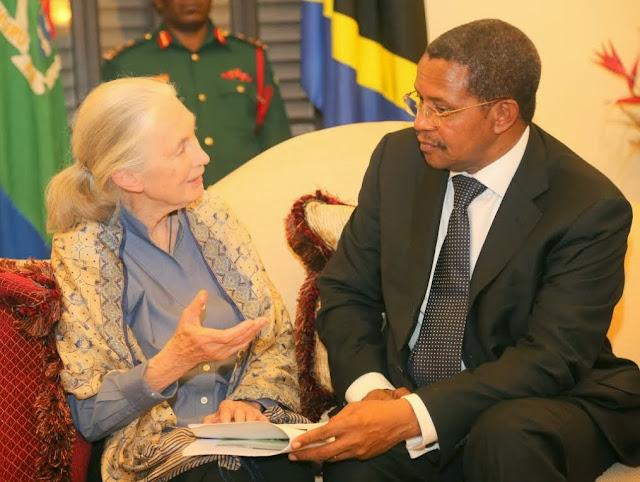 President Jakaya M. Kikwete (Tanzania) listening to renowned British primatologist, Dr Jane Goodall at the State House in Dar es Salam