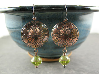 Libellula Jewelry:  etched copper & Czech glass earrings