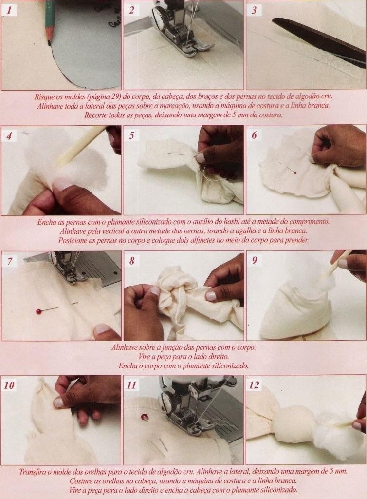 Coelha de tecido para páscoa com moldes