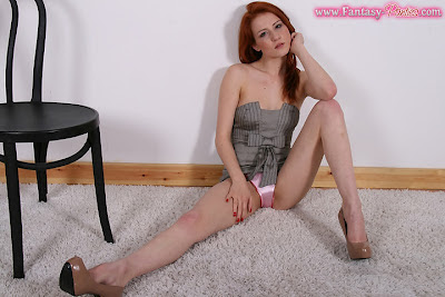 Redhead showing her Shiny Pink Panties