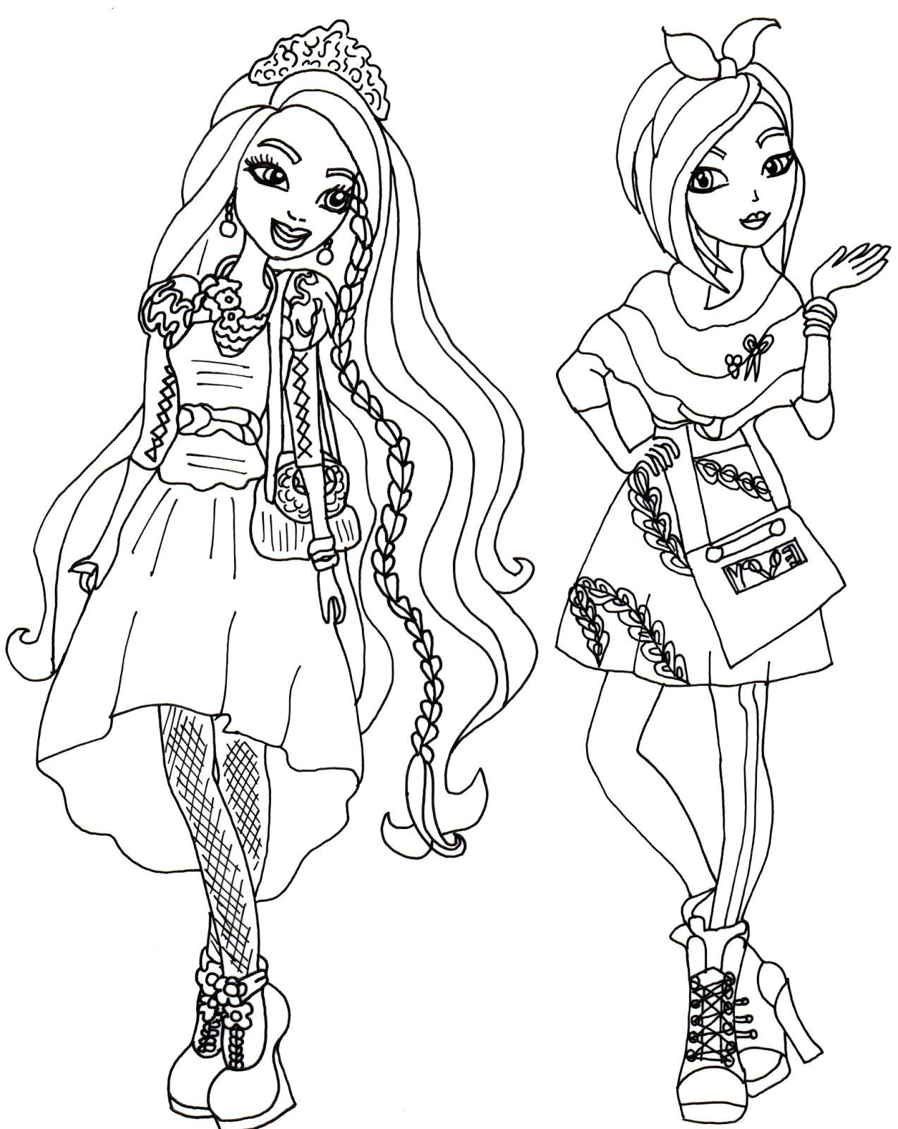 Colouring pages for ever after high - Coloring Book Ever After High Colouring In Ever After High Holly And Poppy O Hair
