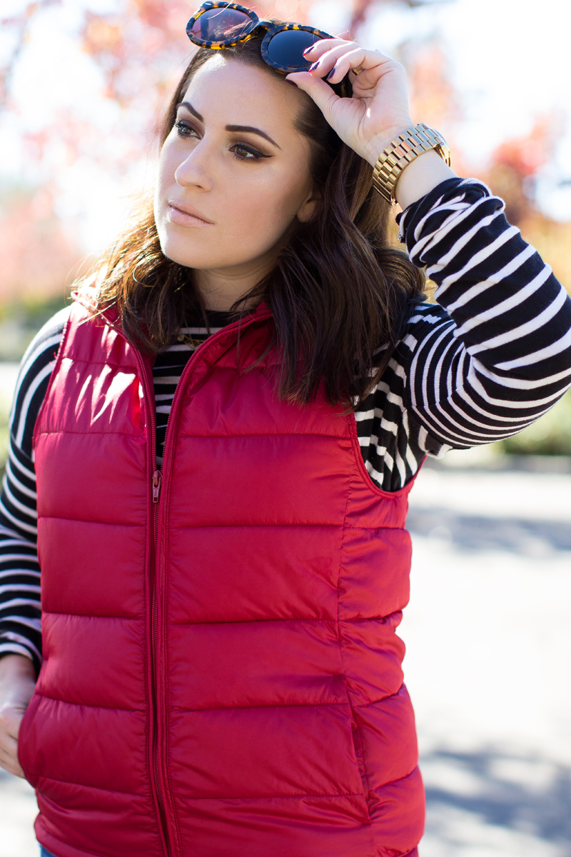 red puffer vest and stripes