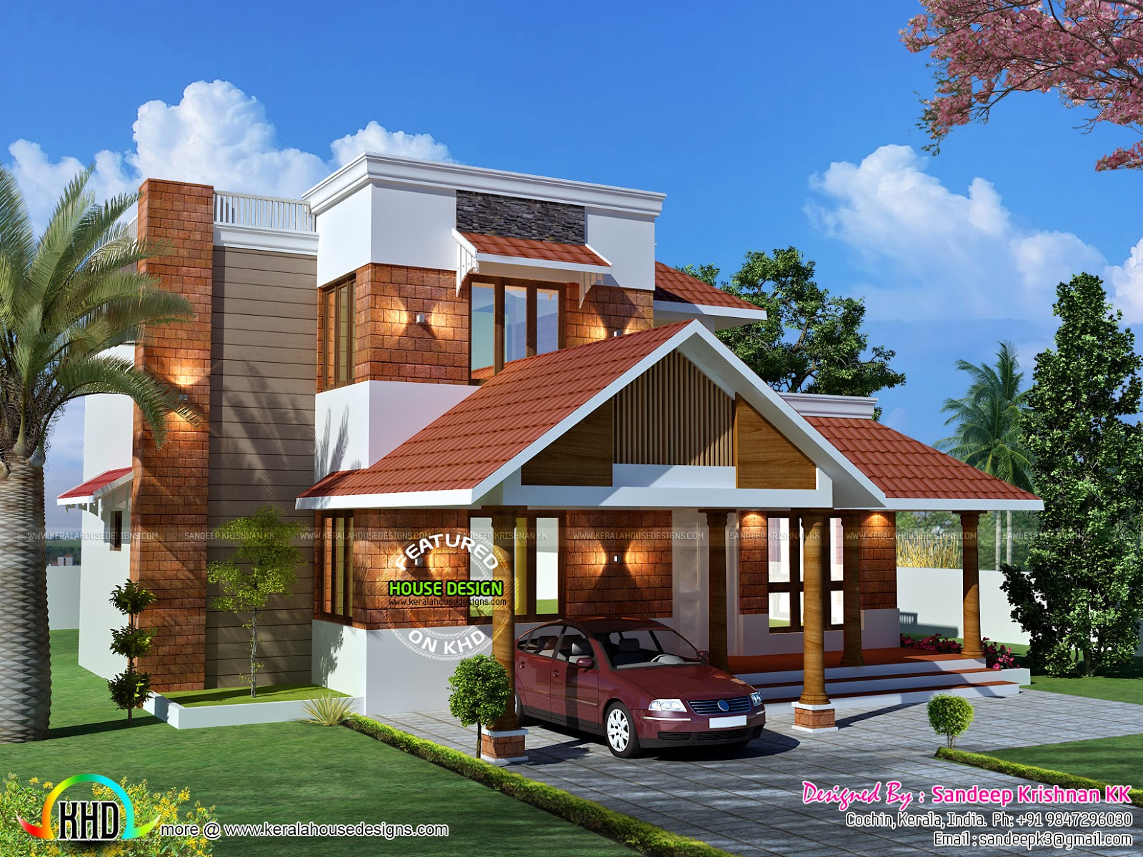Beautiful kerala home design in 2168 sq0ft kerala home for Attractive house designs