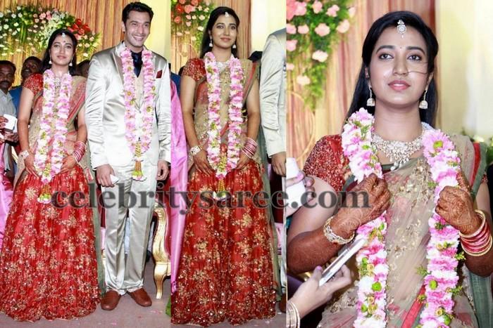 Keerthana Wedding Reception Saree Saree Blouse Patterns