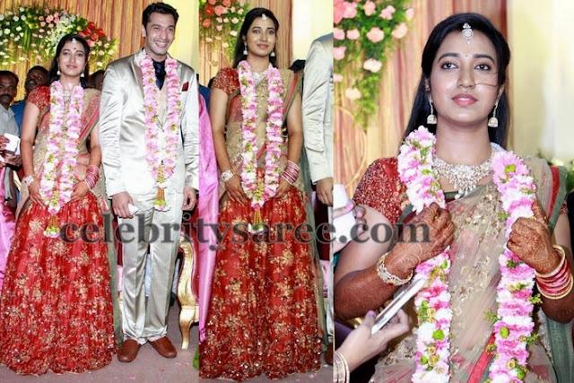 Keerthana Wedding Reception Saree