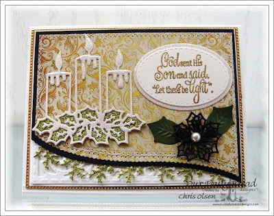 Our Daily Bread Designs, Perfect Light, Christmas Candle Dies, ovals dies, stitched Ovals dies, Merry Mosaic dies, Flourished Star Pattern die, Christmas card Collection 2015, designed by Chris Olsen