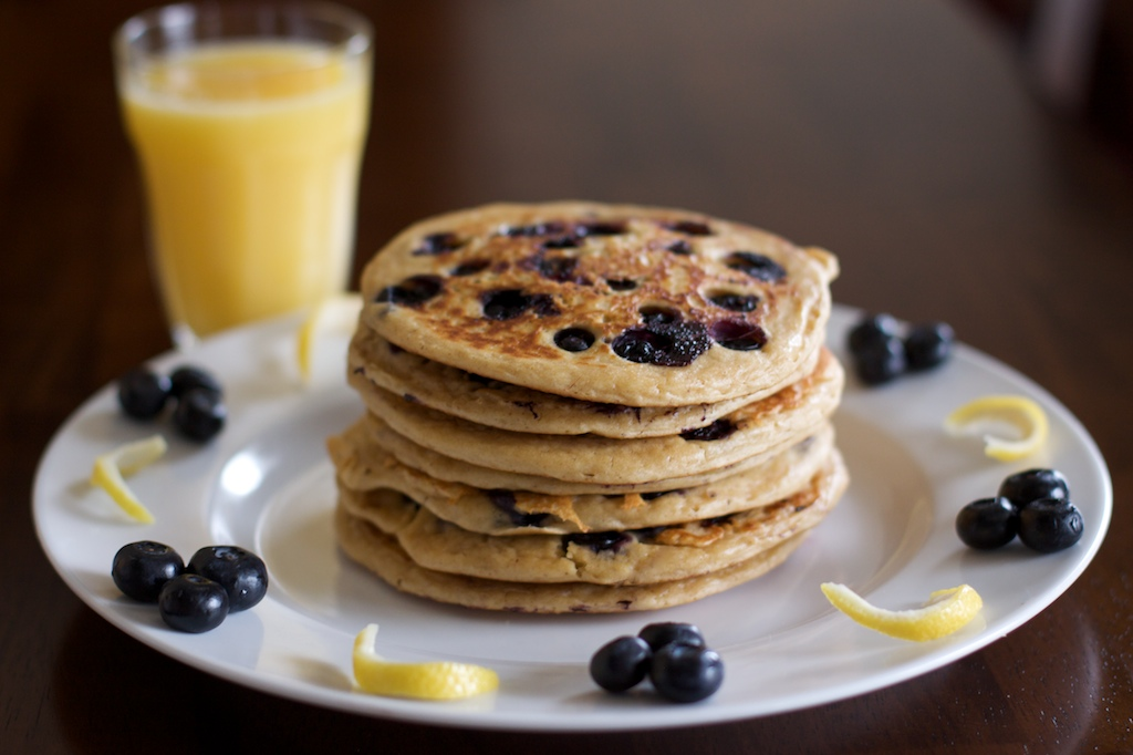 Whole Wheat Blueberry Lemon Yogurt Pancakes