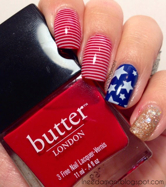 july 4th red white and blue flag nails