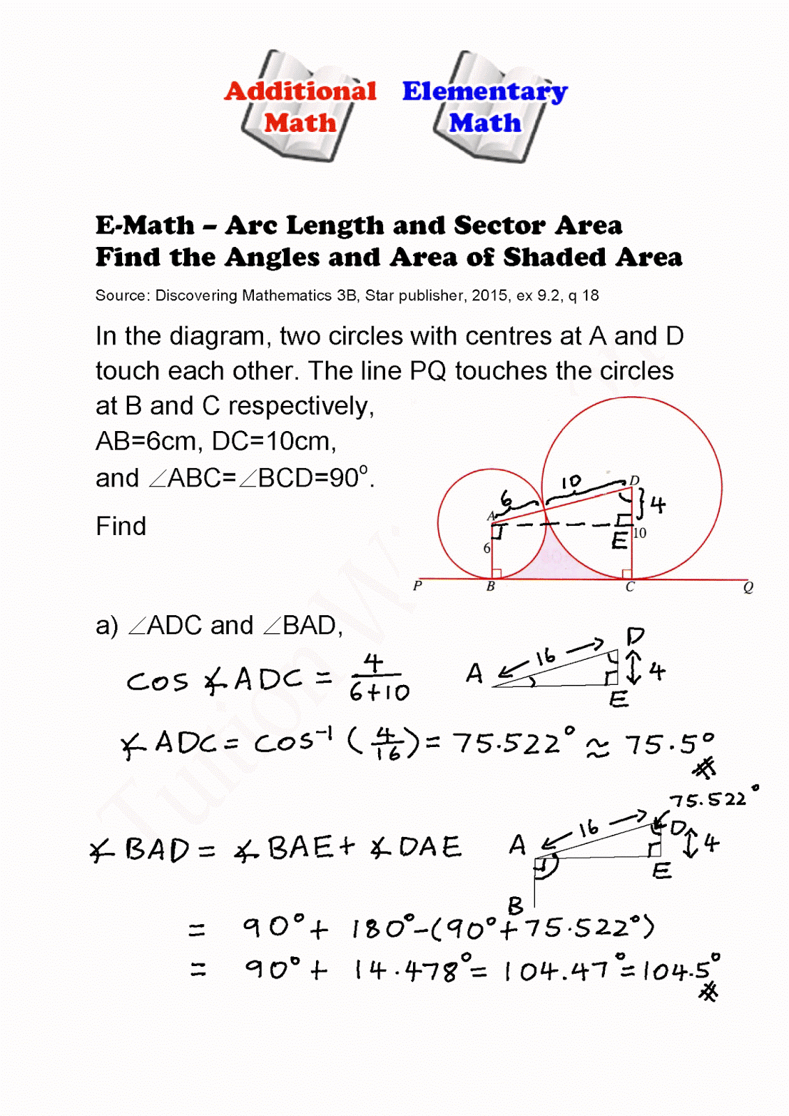 Emath Arc Length And Area Of Sector Finding Angles And Area Of Emath Arc  Length And