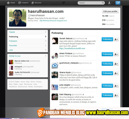 Tarik Pengunjung Ke Blog Menerusi Twitter