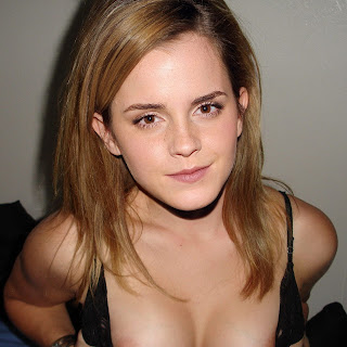 Emma Watson downblouse in Twitter photo nip slip HQ