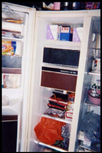An open two-door refrigerator showing apparent food containers in juxtaposition with irrregulary shaped plastic bags