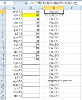 Marcar doce filas por encima con un formato condicional.