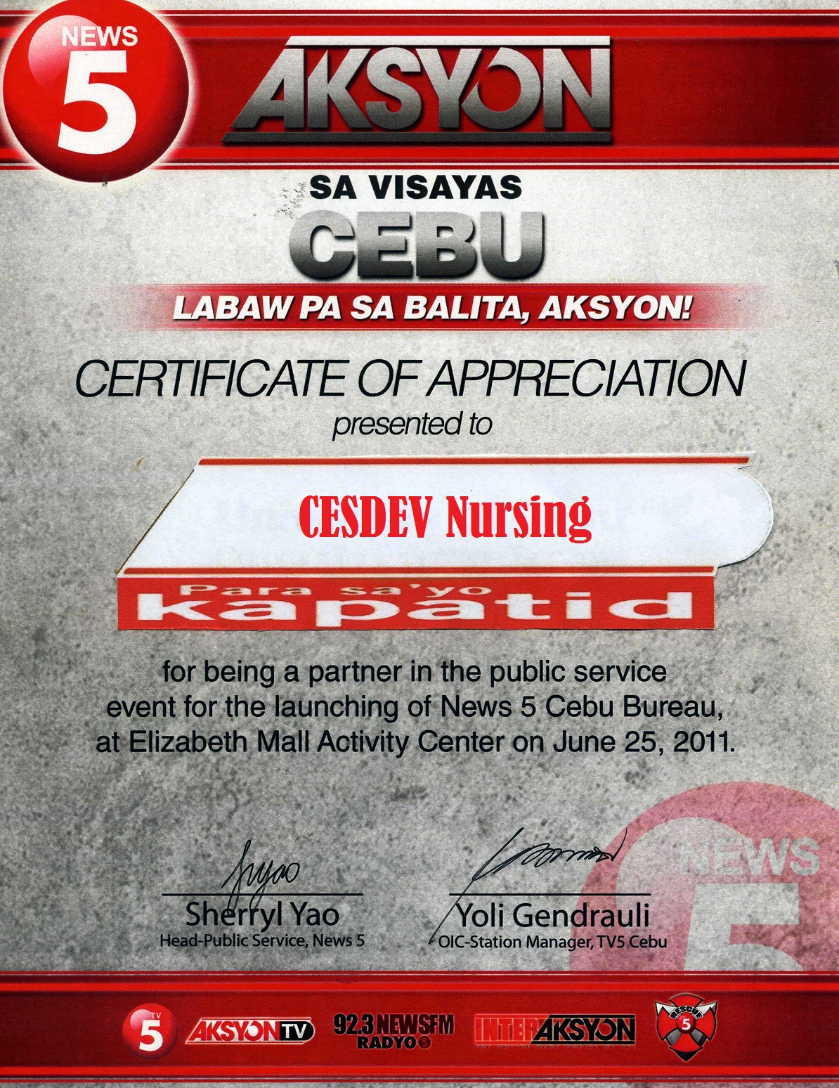 Uc nursing cesdev august 2011 uc nursing cesdev received a certificate of appreciation for having joined in the medical mission during the grand station launch of tv5 cebu last june 25 yadclub Image collections