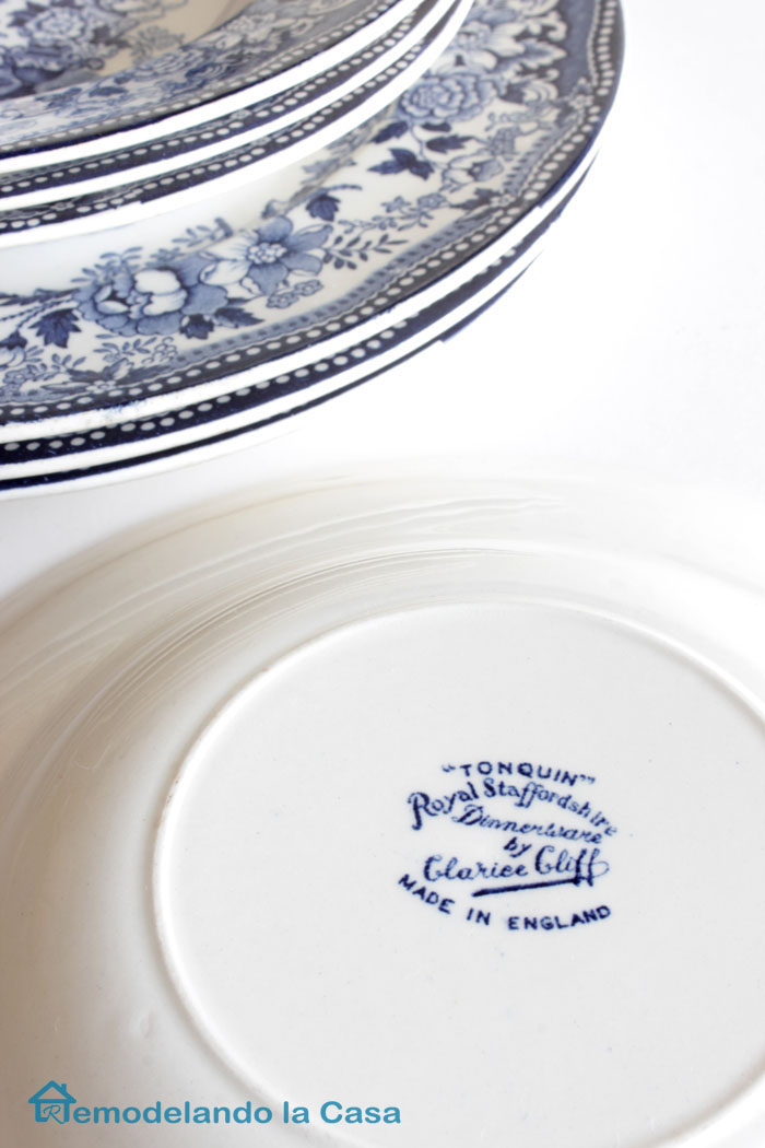 Blue and white plates made in England