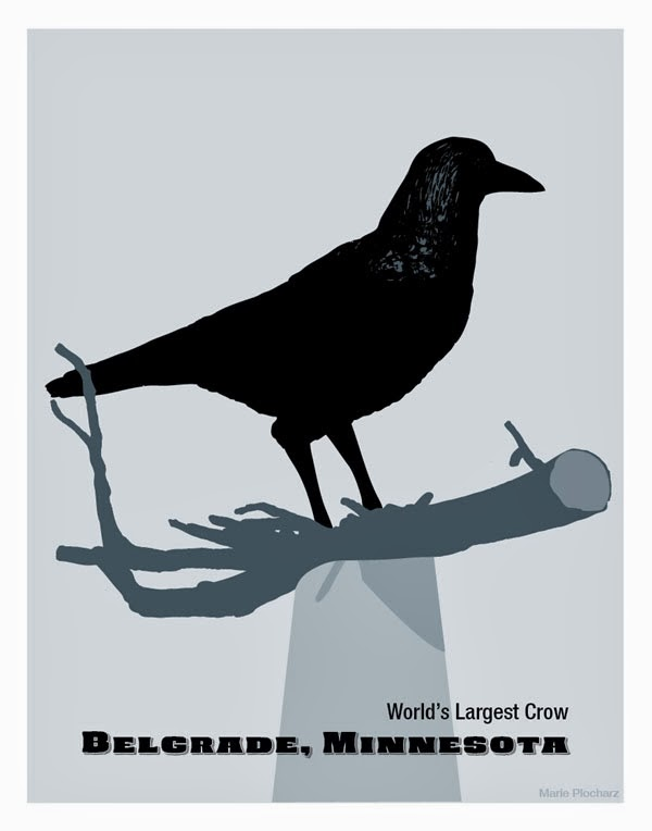 Giant Crow Belgrade, Minnesota - MN Roadside Attraction Travel Poster