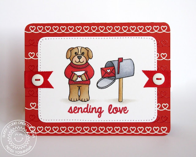Sunny Studio Stamps Valentine's Day Card (using Sunny Borders and Sending My Love stamp sets)