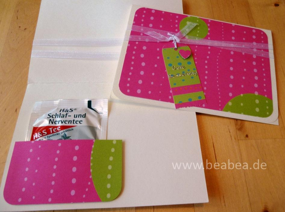 Karten Selber Basteln Gute Besserung : Manchmal hilft dazu ja auch ein Taschentuch, Pflaster oder Tee (sei es