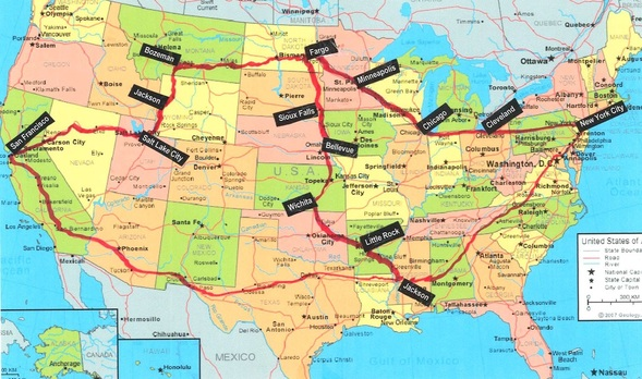 Map of abortion rights freedom ride routes.