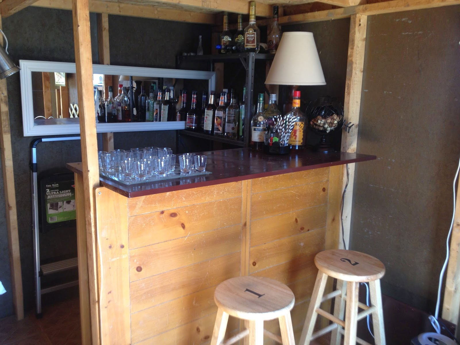 the barshed: shed into bar with loft- end result