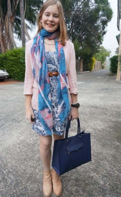 Blush Pink Blazer Print mixing stargazer scarf paisley print dress acne pistol boots