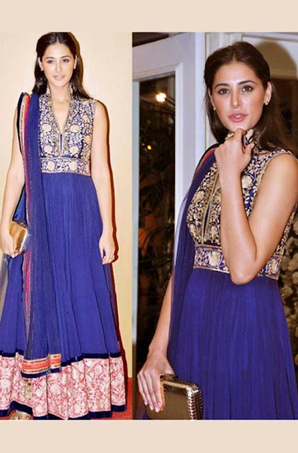 1833 - Nargis Fakhri In Blue Anarkali Pakistani Suit Launches New HCL Ultrabook