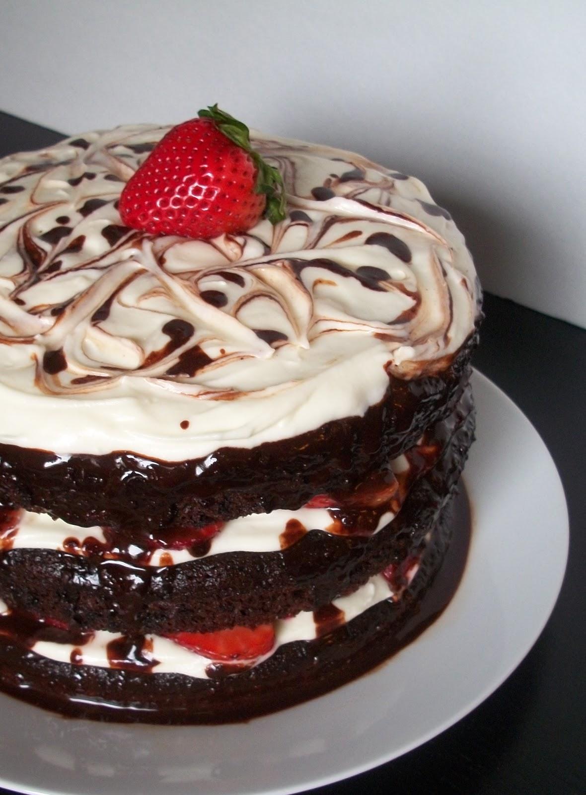 Moms Birthday Cake And Homemade Chocolate Sauce