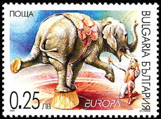 Entrenador de elefantes, sello de 25s, Bulgaria - 2002