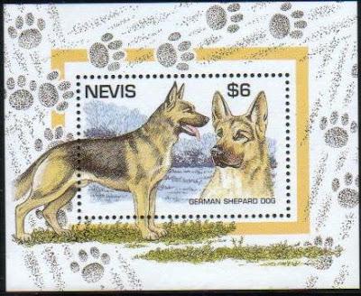 1995年セントクリストファー・ネビス ジャーマン・シェパードの切手シート