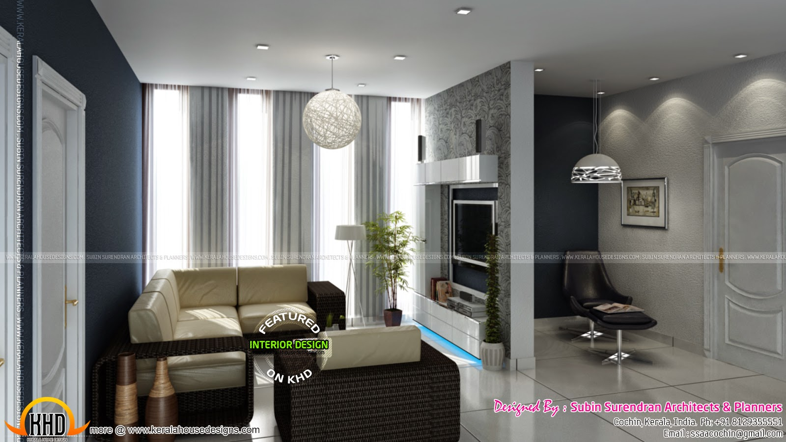 Modern home in 2094 square feet keralahousedesigns for Upper living room designs