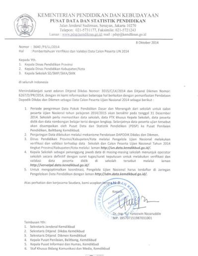 Pengumuman PDSP Kewajiban Verifikasi dan Validasi Calon Peserta UN 2014/2015 untuk seluruh sekolah SD SMP SMA SMK