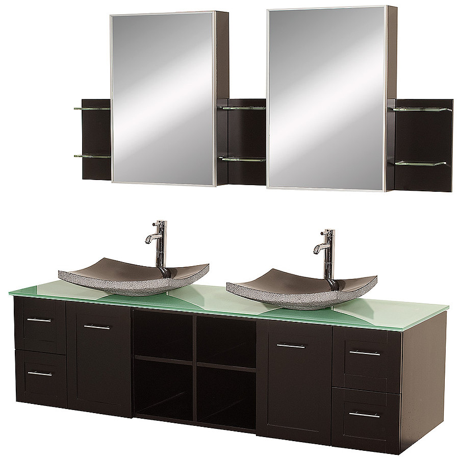 48 inch double sink vanity cabinets and vanities for Double basin bathroom sinks